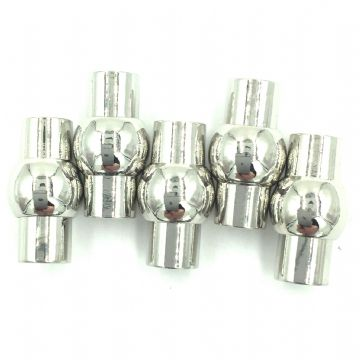 Platinum plated barrel and ball magnetic clasp - 5mm hole size - 5 pieces